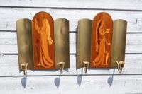 Pair of Swedish Art Deco Double Candle Sconces by Mjolby Intarsia c.1930 (17 of 21)