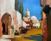 Augusta Coles Moroccan Cityscape Oil Painting Mahogany Fire Screen c.1911 (5 of 16)