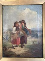 Antique oil painting study of peasant girls carrying sheaves of corn (7 of 10)