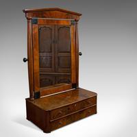 Antique Toilet Mirror, English, Walnut, Vanity, Empire Style, Victorian c.1880