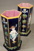 Very Rare Pair of Late 19th Century Majolica Stick Stands (3 of 5)