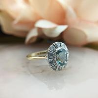 Vintage 18ct Gold Aquamarine & Diamond Cluster Ring, 18k Dress Cocktail Statement (11 of 12)