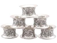 Sterling Silver Napkin Rings Set of Six - Antique Victorian 1897 (3 of 12)