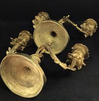 Very Good Pair of Rococo Style Antique Gilt Cast Brass Candelabra (6 of 6)