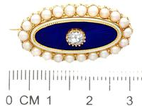 0.29ct Diamond, Seed Pearl & Enamel, 15ct Yellow Gold Brooch - Antique Victorian (8 of 9)