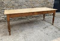 Large Antique Pine Farmhouse Table on Turned Legs (2 of 19)
