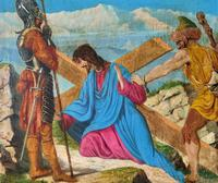 Lovely 19th Century Religious Old Master Christ & Cross Oil Painting - Set 14 Available (11 of 19)