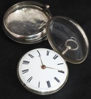 Good Antique Silver Pair Case Pocket Watch Fusee Verge Escapement Key Wind Enamel Dial Robinson London (2 of 11)