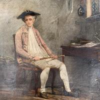 Antique Georgian oil painting portrait of gentleman The Flautist flute player (6 of 10)