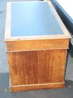 1920's Solid Light Oak Pedestal Desk with Green Leather Top. (2 of 5)