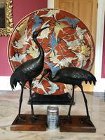 Antique Pair of Japanese Bronze Metal Crane Sculptures (2 of 12)