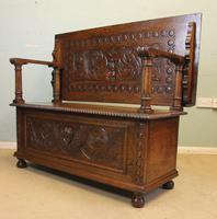 Antique Carved Oak Monks Bench Hall Seat Settle (8 of 11)