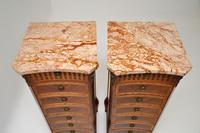 Pair of Antique French Marble Top Slim Chests of Drawers (9 of 11)