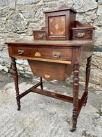 Antique Rosewood Inlaid Writing Desk (11 of 19)