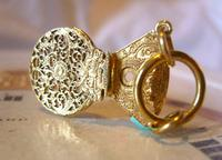 Georgian Pocket Watch Chain Fob 1830s Antique Brass Verge Balance Cock Fob (2 of 10)