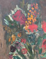 Large Rustic 19th Century French Impressionist Still Life Floral Oil Painting - Minor TLC (9 of 12)