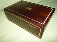 Quality Unisex Inlaid Rosewood Jewellery Box. c1840 (4 of 11)