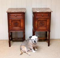 Pair of French Oak Marble Top Bedside Cabinets (7 of 9)