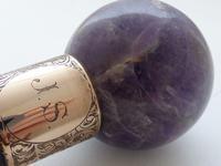 Victorian Walking Stick Cane 1899 9ct Gold Amethyst Pommel Ebony Shaft (7 of 9)