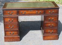 1960s  Pedestal Desk with Green Leather Top