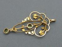 Edwardian 9ct Gold, Peridot & Pearl Pendant (2 of 5)