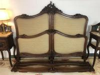 Antique French Bespoke Carved & Upholstered Extra Large Bed Frame (13 of 16)