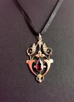 Antique Art Nouveau Pendant, 9ct Gold, Pearl & Garnet (3 of 7)