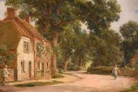 "Oil painting Pair by Alfred Kedington Morgan ""Village High Street"" (7 of 8)"