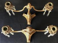 Pair of Good Quality Antique Gilt Brass & Crystal Drop Neo Classical Two Branch Candelabra (4 of 8)