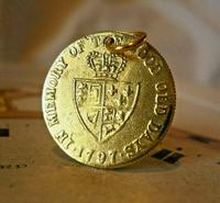 Victorian Pocket Watch Chain Fob 1890s Antique Brass Guinea Gambling Coin Fob (2 of 5)