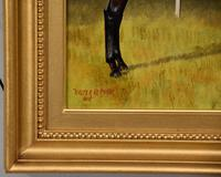 """Oil Painting Pair by Walter Vernon """"Racehorse Scenes"""" (10 of 11)"""
