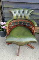 Vintage Mahogany Green Leather Captains Chair (6 of 6)