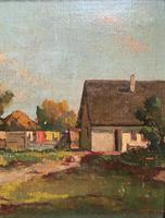 Josef Harencz Farmyard & Horses Landscape Oil Painting (6 of 10)