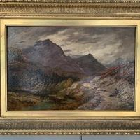 Antique Victorian Scottish landscape oil painting with shepherd and flock of sheep (7 of 10)