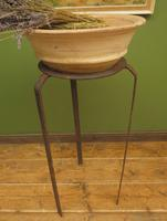 Handmade Wrought Iron Stand with Wide Terracotta Bowl for Wedding Flowers (10 of 15)