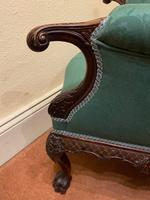 George II Style Solid Mahogany Ornately Carved Wing Armchair (8 of 10)
