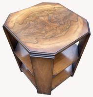 Good Quality Art Deco Burr Walnut Octagonal Side Table (3 of 6)