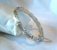 "Vintage Silver Bamboo Bangle 1978 Ornate Bracelet 7"" Length 13.7 Grams (4 of 12)"