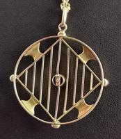 Antique Edwardian 9ct Gold Pendant, Peridot, Garnet and Pearl (6 of 10)