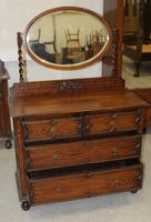 1920's Oak Dressing Table with Oval Central Mirror Stand (4 of 4)