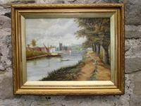 19th Century Oil Painting: Riverside Scene with Boats (2 of 2)