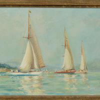 Pair of Oil Paintings of Clyde One Design Yachts Racing by Frank Henry Mason (9 of 12)