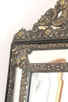 Dutch Repousse Brass Cushion Framed Mirror with Arched Crest (8 of 12)