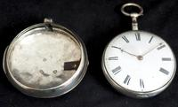 Good Antique Silver Pair Case Pocket Watch Fusee Verge Escapement Key Wind Enamel Dial Robinson London (6 of 11)