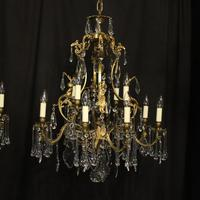 French Pair Bronze 12 Light Antique Chandeliers (2 of 11)