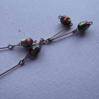 Art Deco Pink & Green Foil Glass Bead Necklace (4 of 7)