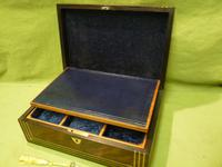 Inlaid Unisex Rosewood Jewellery Box + Tray. c1835 (9 of 12)