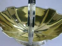 Heavy Solid Sterling Silver English Swing Handled Bowl Basket 1906 172g Antique (6 of 7)