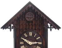 Rare Gallery Cuckoo Mantel Clock – German Black Forest Carved Bracket Clock (8 of 13)
