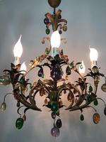 Murano Glass Fruit Venetian 6 Arm Toleware Ceiling Light Chandelier (8 of 9)